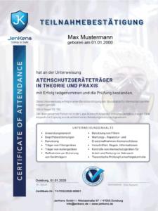 Atemschutzgeräteträger Zertifikat