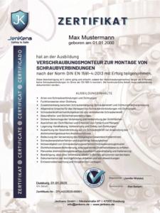 Flanschmonteur Zertifikat