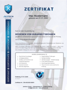 Hubarbeitsbühne Zertifikat